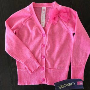 Baby Girl Button Down Neon Pink Cardigan Sweater